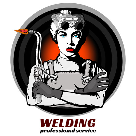 Professional welder pop art vector Illustration