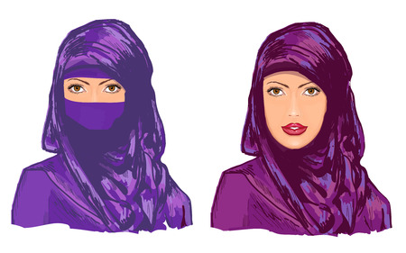 fille femme musulmane dans hijab illustration vectorielle