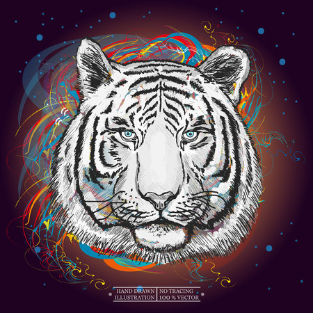 White tiger in outer space art print hand drawn animal illustration Vettoriali
