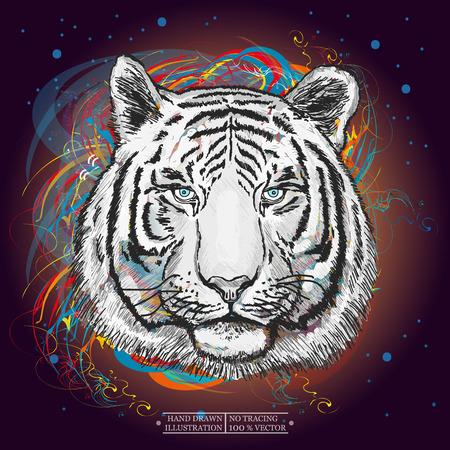 Tigre blanco en el arte el espacio exterior impresión de la mano dibujado ilustración de los animales Foto de archivo - 57464511