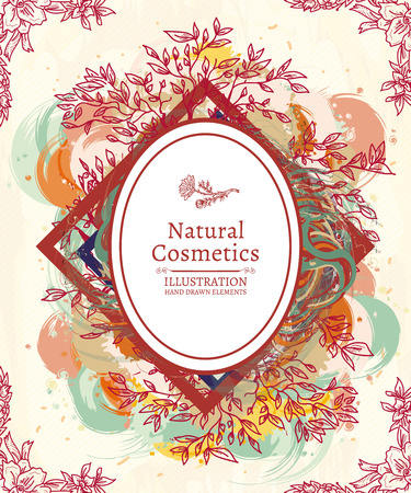 natural cosmetics: Natural cosmetics herbs and flowers hand drawn sketch vector illustration Illustration