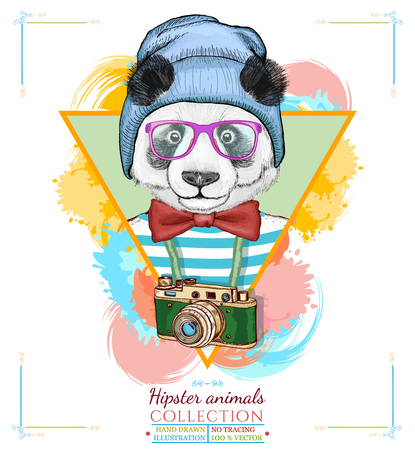 Portrait of fashion panda, hipster animals hand drawn vector illustration