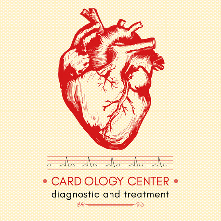 Human heart medical symbol of cardiology cardiology center vector Illustration