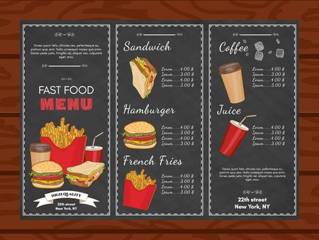 restaurante plantilla de menú de comida rápida