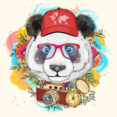 Panda hipster art print hand drawn animal illustration Vettoriali