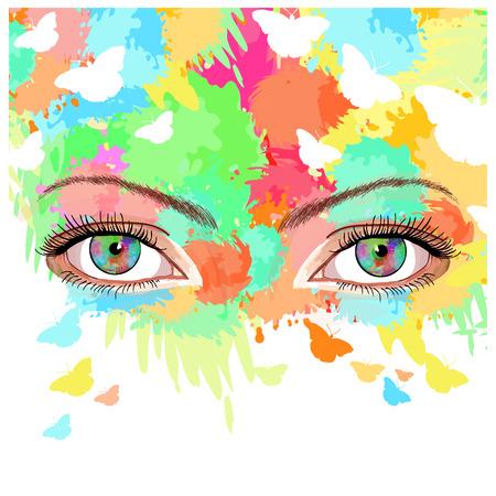 female eyes: Woman art, beautiful female eyes on a bright summer background vector hand drawn illustration Illustration