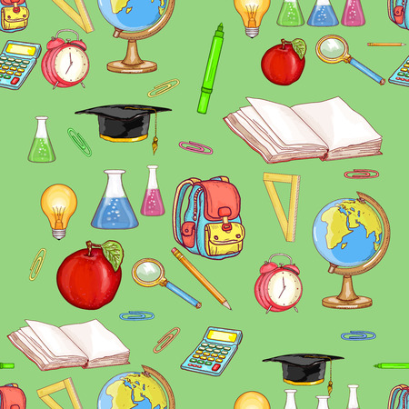 light classroom: Education seamless pattern back to school education background vector illustration