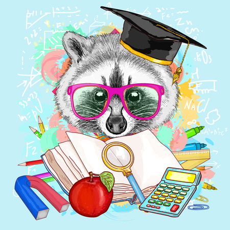 Education hipsters animals students raccoon goes to school vector illustration