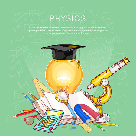 Education back to school studying physics open book knowledge concept of education vector illustration