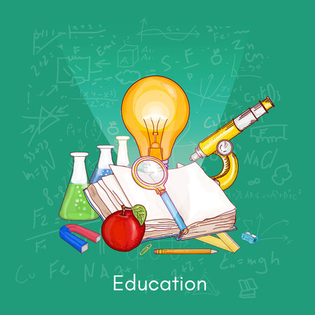 estudio de la educación de la biología, la química, la física, el conocimiento libro abierto ilustración vectorial