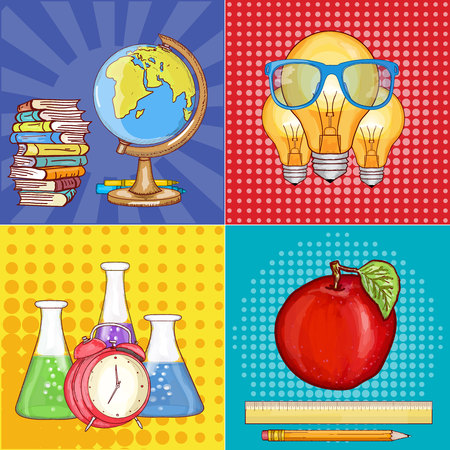 school globe: Education pop art school globe, lamp, alarm clock, test tubes vector illustration