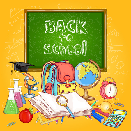 child studying: Back to school education background school tools vector illustration