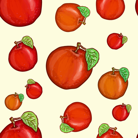 red apples: Red apples seamless pattern vector Illustration