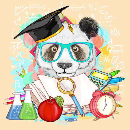 Education hipsters animals students panda goes to school vector illustration
