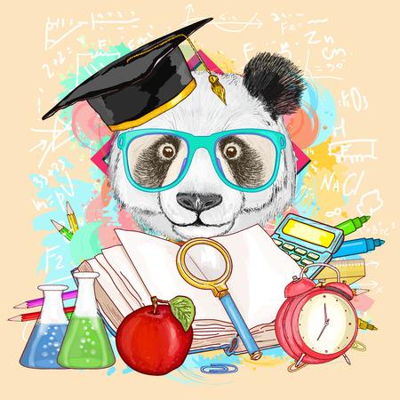 Onderwijs hipsters dieren studenten panda gaat naar school vector illustratie Stock Illustratie