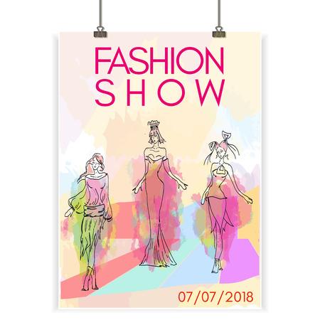 desfile de moda colección de carteles de ropa de mujer hermosa ilustración modelo vectorial Ilustración de vector