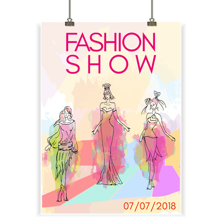 Fashion show poster collection of womens clothes beautiful model vector illustration Ilustracja