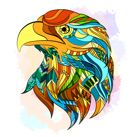 Etnische patroon hoofd van eagle mooie adelaar de hand getrokken kunst vector Stock Illustratie