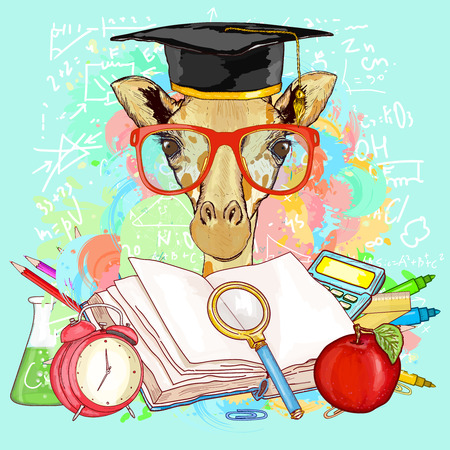 goes: Education hipsters animals students giraffe goes to school vector illustration