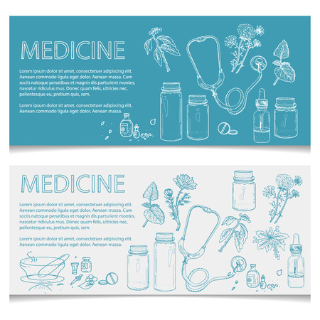 Herbal medicine banner hand drawn elements vector illustration