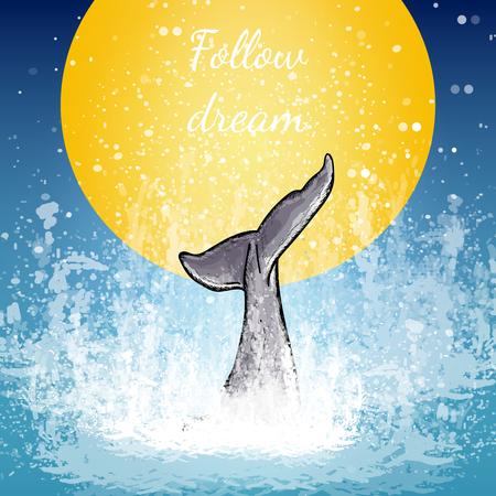 De staart van de walviskunst, walvis duikt in de waterachtergrond van de maan volgt droomaffichevector Vector Illustratie