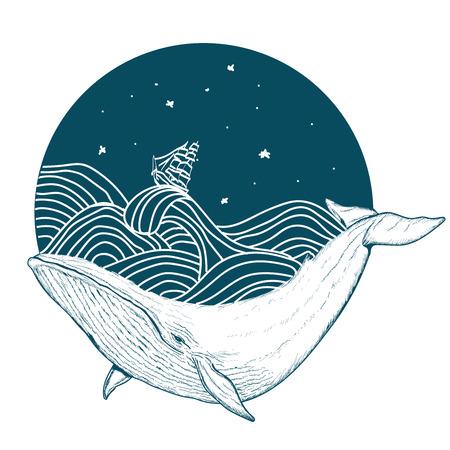Whale pod wodą sztuki tatuażu wieloryb w morzu stylu graficznego wektora