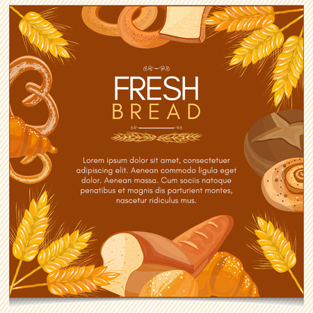 buns: Fresh bread bakery products background buns pastries vector template
