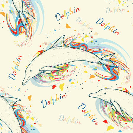 Dolphins seamless pattern hand drawn vector. Marine background color diving doplhins Vettoriali