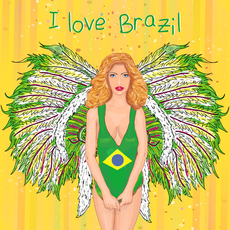 carnival costume: Brazilian carnival beautiful girl in carnival costume Rio de Janeiro hand drawn vector