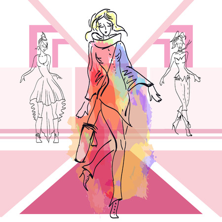 Fashion models show new clothes girls on the catwalk fashion clothing collection vector Illustration