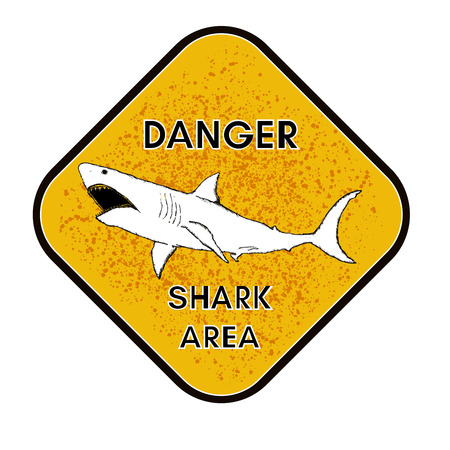 beach closed: Warning shark attack danger of sharks yellow sign vector
