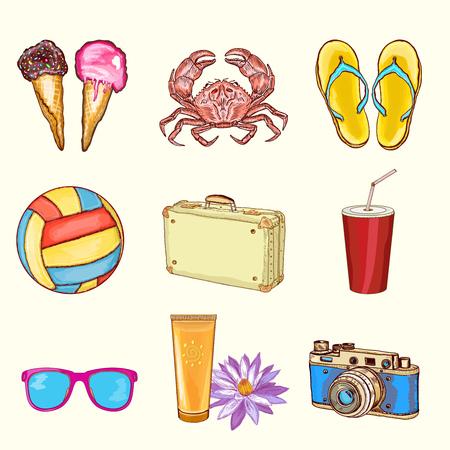 suntan cream: Summer beach set  summer vacation objects hand drawn vector