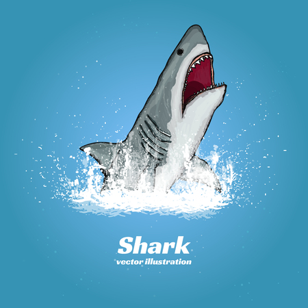 great white shark: Great white shark jumping out of the water t-shirt print vector illustration