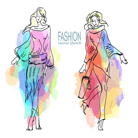fashion show: Fashion models. Sketch hand drawn vector Illustration
