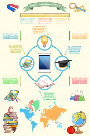 light classroom: Online education infographics back to school vector