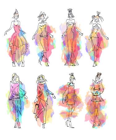 vector de colección de moda Modelo dibujado a mano