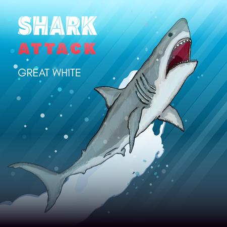 great white: Shark attack great white shark underwater attack vector illustration