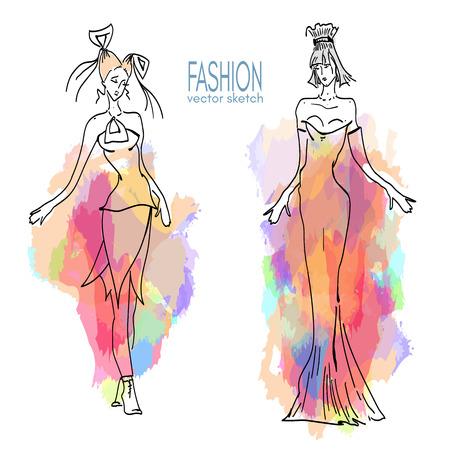 women body: Fashion models vector sketch