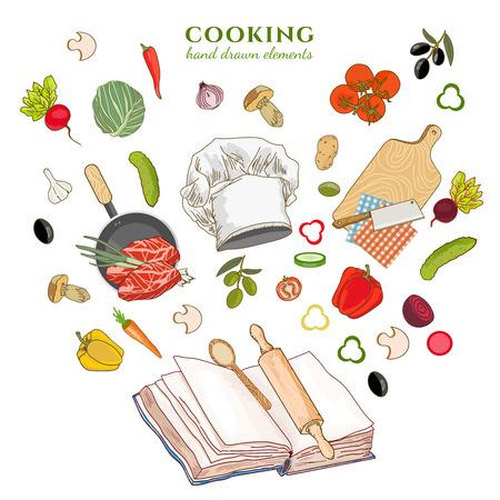 cookbook: Cookbook creative cooking hand drawn vector