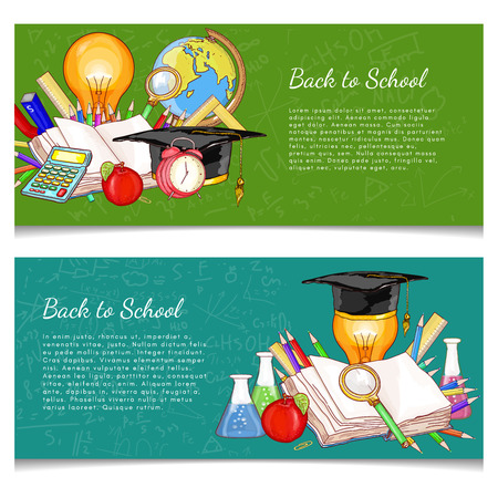 college student: Back to school banner education background vector illustration Illustration