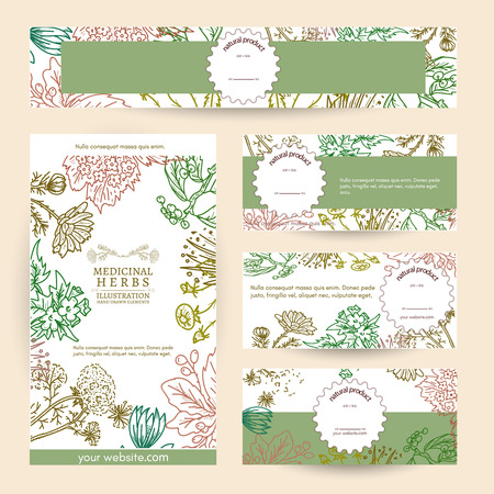 Herbal medicine cosmetics based on natural herbs template vector illustration