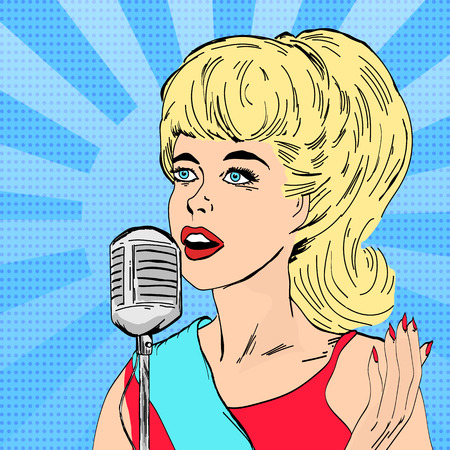 Mooie vrouw zingen met microfoon meisje op muziekscene pop art vector