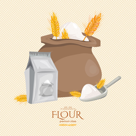 burlap bag: Bag of flour ears of wheat ingredients for baking cartoon vector Illustration