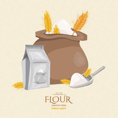 La bolsa de orejas de harina de trigo ingredientes para hornear vector de la historieta Ilustración de vector
