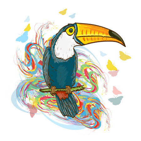 tropical bird: Toucan sitting on branch. Exotic tropical bird jungle vector illustration