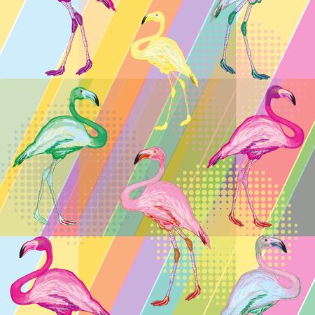 밝은 색 배경에 색깔 플라밍고 컬러 플라밍고 열 대 배경 원활한 패턴 벡터