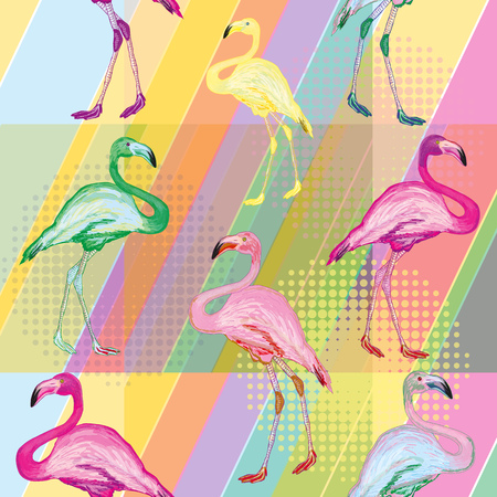 Colored flamingo on a bright color background colored flamingo tropical background seamless pattern vector Illustration