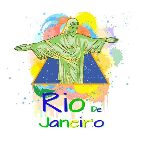 janeiro: Welcome to Rio de Janeiro template for printing on t-shirts vector illustration Illustration