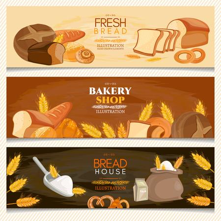 bread maker: Bakery banner fresh bread bakery shop vector illustration