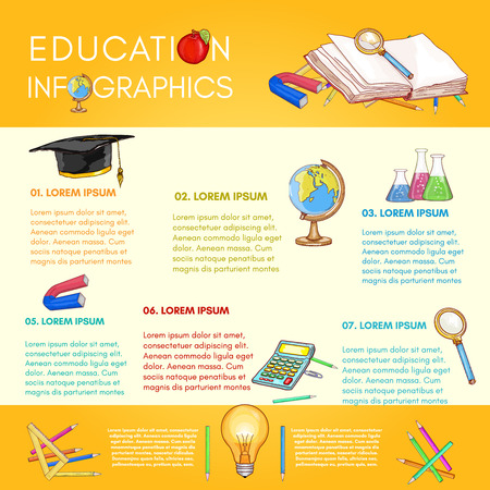 light classroom: Education infographics back to school online education vector template